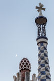 Gaudi towers. At dawn with the moon in the background Stock Images