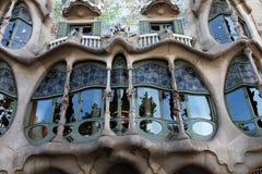 Gaudi window. Barcelona, Spain 6 june 2013 exterior details balcony of Casa Batllo designed by Antonio Gaudi Royalty Free Stock Photo