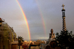 Two rainbows. Above the Park Guell in Barcelona Stock Photo