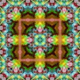 Gaudy blur kaleidoscope square pattern. Royalty Free Stock Images