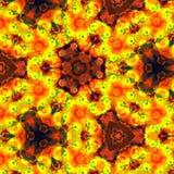 Gaudy golden outline triangular flower kaleidoscope pattern Royalty Free Stock Images