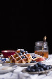 Gaufre de myrtille Photos stock