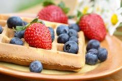 Gaufre et fruit Images stock