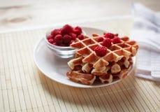 Gaufres avec du miel, la confiture, et les baies d'un plat blanc Image libre de droits