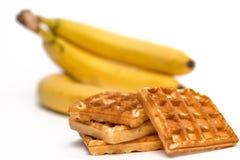 Gaufres et bananes Photo stock