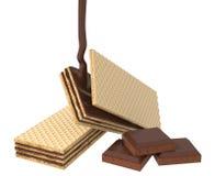 Gaufrette croustillante avec l'éclaboussure de chocolat illustration libre de droits