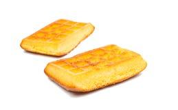 Gaufrettes de biscuit sur un blanc Photo libre de droits