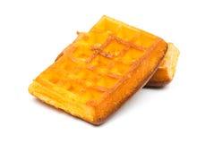 Gaufrettes de biscuit sur un fond blanc Photographie stock