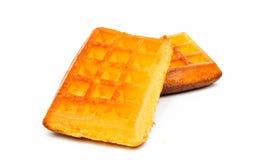 Gaufrettes de biscuit sur un fond blanc Images stock