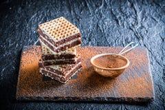 Gaufrettes faites maison avec du chocolat et la noisette du plat en pierre Photographie stock libre de droits