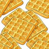 Gaufrettes sans couture de modèle un produit carré viennois de boulangerie Vecteur illustration de vecteur