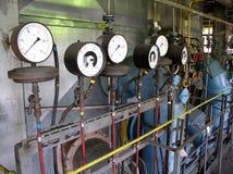 Gauge. Pressure gauger in the factory stock image