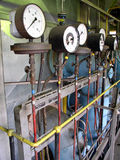 Gauge. Pressure gauger in the factory royalty free stock photography