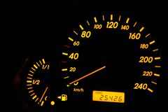 Gauge of fuel. The gauge of fuel shows absence of gasoline Stock Photos