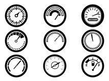 Gauge icons. Isolated gauge icons from white background Stock Photography