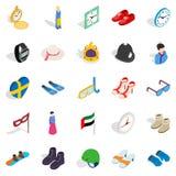 Gauge icons set, isometric style Stock Image