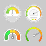 Gauge meter element. Vector illustration. Speedometer icon or sign with arrow. Dashboard indicate, panel indicator. Royalty Free Stock Photos