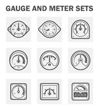 Gauge meter. Gauge and meter icons sets. (easy to adjust pointer Royalty Free Stock Image