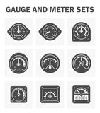 Gauge meter. Gauge and meter icons sets. easy to adjust pointer Stock Images