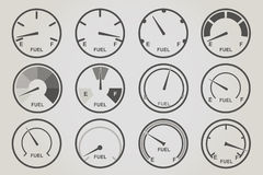 Gauge meter icons sets. Infographic and car instrument design elements Stock Photography
