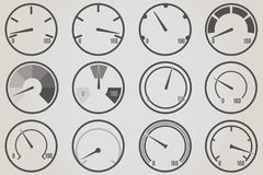 Gauge meter icons sets. Infographic and progress bar design elements Royalty Free Stock Photo