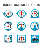 Gauge meter sets Royalty Free Stock Images