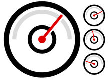 Gauge meter symbol, icon at 4 stages. pressure gauge, odometer, Royalty Free Stock Photography