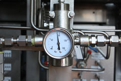 Gauge. Pressure gauge for measuring pressure in the system, Oil and gas process used pressure gauge to monitor pressure condition inside the system royalty free stock images