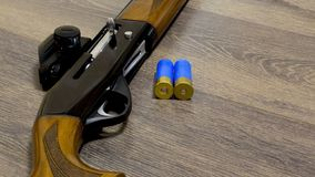 12 gauge shotgun with bullets. royalty free stock photos