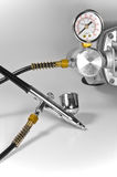 gaugen för luftborsten pipes tryck Royaltyfri Fotografi