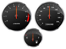 Gauges. Speedometer, tachometer and fuel gauge set with chrome bezel Stock Image