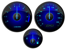 Gauges. Modern blue speedometer, tachometer and fuel gauge set Stock Photo