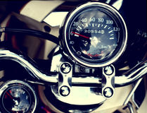 Gauges of classic motorcycle. Gauges of vintage classic motorcycle Stock Photos