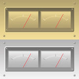 Gauges and dials. 3D, illustrated analog gauges or dials with red needles Stock Photography