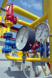 Gauges are on the gas compressor station Royalty Free Stock Photos