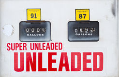 Gauges on an old-fashioned gasoline pump Royalty Free Stock Image