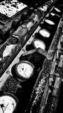 Gauges. Old gauges on a mining site Royalty Free Stock Photography