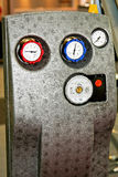 Gauges pump. Heating control unit with gauges and pump Stock Photo