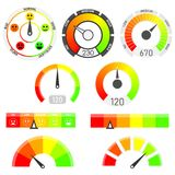 Gauges vector set. Credit score indicators. With color levels from low to max. Abstract concept graphic element of tachometer, speedometer Royalty Free Stock Image