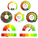 Gauges vector set. Credit score indicators. With color levels from low to max. Abstract concept graphic element of tachometer, speedometer Royalty Free Stock Images