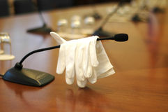 The gauntlet is throw. Scene after court hearing, white gauntlet Royalty Free Stock Photos