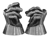 Gauntlets. A pair of armored gloves or gauntlets, in vlack and white with clipping path Stock Photography