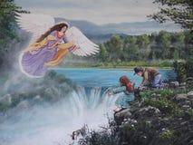 Gaurdian angel. 16x20 acrylic of children with angel Stock Photos