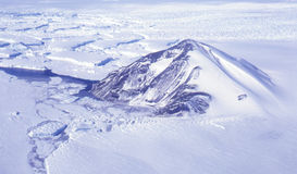 Gaussberg Antarctica. An aerial view of Gaussberg, the extinct volcano on the coast of Antarctica stock photography