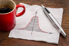 Gaussian (bell) curve on napkin Stock Photo