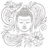 Gautama Boedha met gesloten ogen en bloemenpatroon vectorillustratie vector illustratie