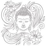 Gautama buddha with closed eyes and floral pattern vector illustration. Gautama buddha with closed eyes representing during meditation, floral pattern around him vector illustration