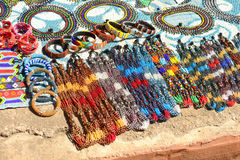 Gauteng, Lesedi Cultural Village. South Africa - 12 March, 2016. Beautiful handmade bead work done by the Zulu, Xhosa, Pedi, Basotho and Ndebele tribes people Royalty Free Stock Photo
