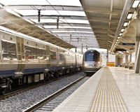 Gautrain - High Speed Commuter Train. Two trains traveling in opposite directions pass by one another Royalty Free Stock Image