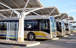 Gautrian bussar i bussgarage Fotografering för Bildbyråer
